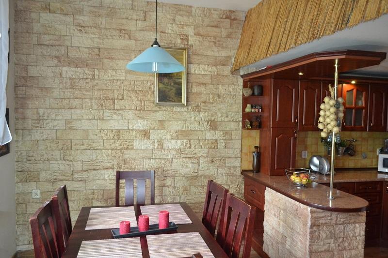 Płytki gipsowe Hamada , zdjęcie zrobione w kuchni . Kamień w kolorze cień czekolady